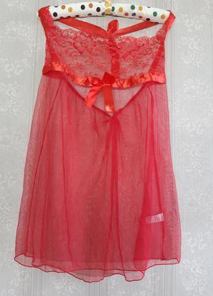 Идеальный красный червоний кружевной пеньюар в сеточку красная червона кружевная сексуальна секси ночнушка сорочка большого размера