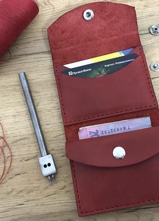 Красный кожаный кошелёк ручной работы