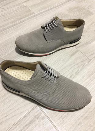 Кожаные мужские туфли 45 размер a.testoni замшевые