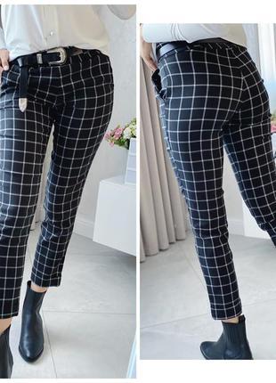 Модные женские брюки клетка классика стильные укороченные