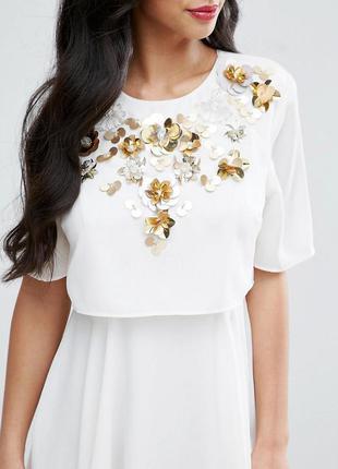 Asos белое платье с декорированным верхом