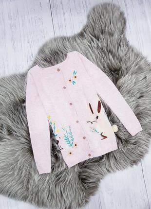 Розовая кофточка с зайчиком, на девочку 4-5 лет
