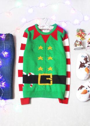 Новогодний свитер с прикольной расцветкой, размер 12(40) , см. замеры