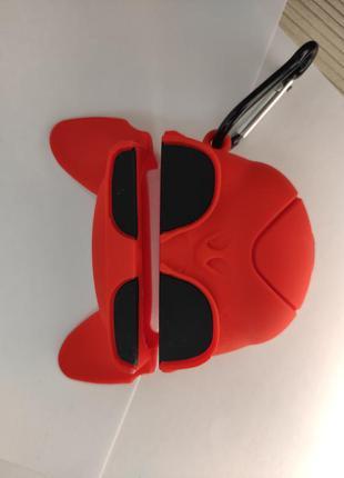Чехол 3d для airpods pro мультяшный bulldog red