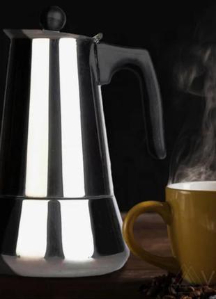 Гейзерна кавоварка. індукційна. edenberg. 6 чаш.