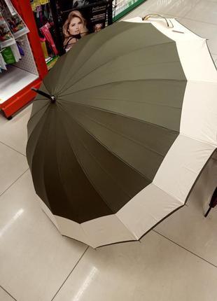 Зонт большой антишторм зонтик трость на много 16 спиц хаки горчичный бежевый коричневый бордовый зелёный зеленый женский мужской парасолька парасоля