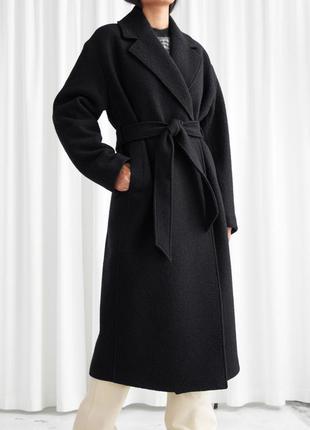 Пальто & other stories belted oversized wool coat l -без пояса