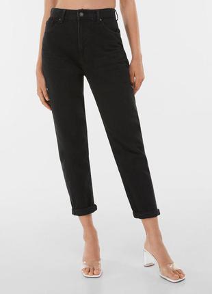 Mom jeans bershka новые 36 р 0024/352 черные джинсы