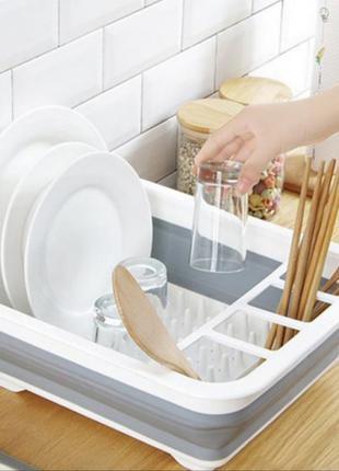 Мультифункциональная складная сушилка органайзер для посуды и кухонных приборов серая. складной кухонный держатель для посуды