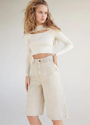 Крутые джинсовые шорты бермуды reserved деним длинные бежевые песочные довгі шорти бермуди
