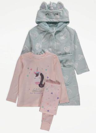 Комплект для девочки плюшевый халат и пижама george