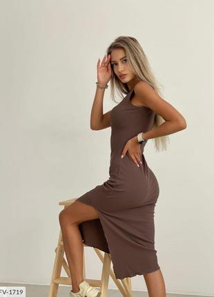 Женское платье миди с разрезом на ноге