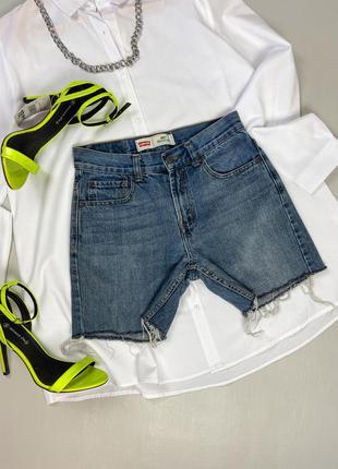 Джинсовые шорты с необработанным низом идеального джинсового цвета 505 regular levis