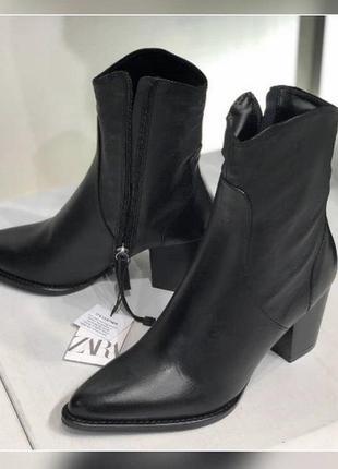 Zara кожаные ботильоны, казаки, ковбойки, ботинки, сапоги в ковбойском стиле