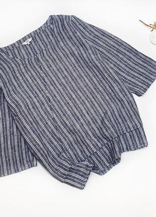 Блуза топ из натуральной ткани в полоску лен