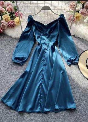 Платье атласное миди