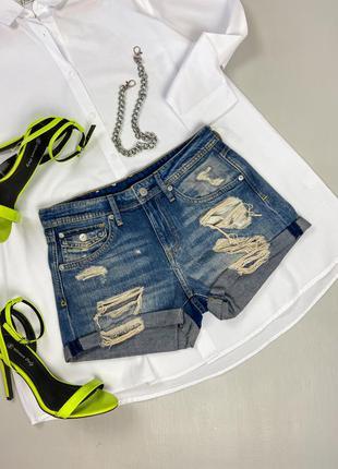 Джинсовые шорты с фабричными дырками h&m