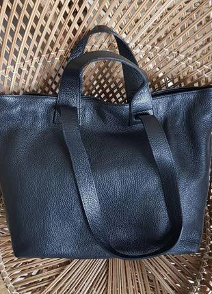 Натуральная кожа женская сумка шоппер большая деловая сумка трансформер genuine leather италия чёрная графит 4 ручки 40 см