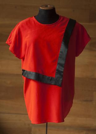 Красная шелковая блузка с коротким рукавом женская escada, размер l