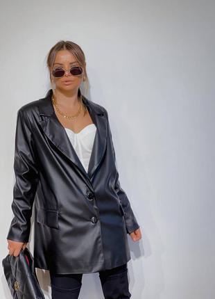 Шикарный кожаный пиджак