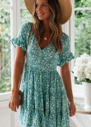 Свободное легкое платье бирюзового цвета