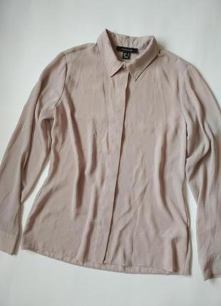 Нюдовая рубашка из шифона