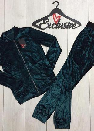 Спортивный велюровый костюм,штаны кофта на молнии