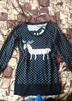 Новогодний прикольный свитерок с оленем