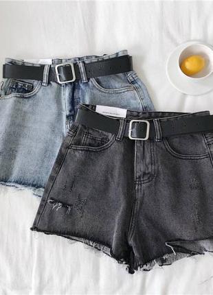 Джинсовые шорты с ремешком