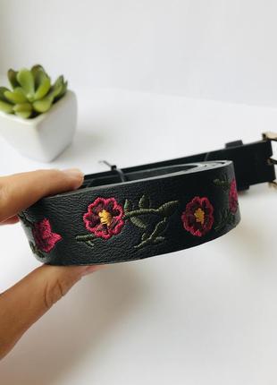 Женский черный ремень с малиновыми цветами, пояс с вышивкой, xl