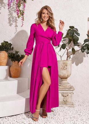 Длинное макси платье на запах демисезонное с разрезом поясом декольте