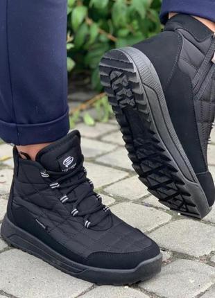 Крутые мужские черные термоботинки кроссовки сапоги на меху 41-46