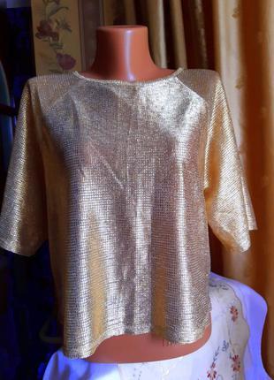 Женская блузка - реглан, с коротким рукавом, золотого цвета / atmosphere