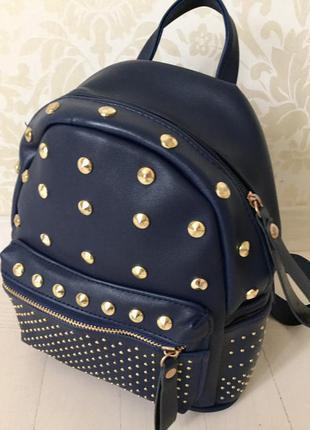 Стильный рюкзачок маленький/ испания/синий/ заклепки золото/ удобный/