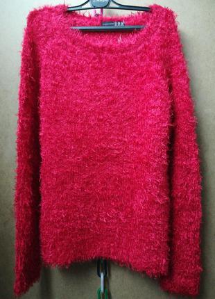 Красивый красный свитер травка, р-р 12