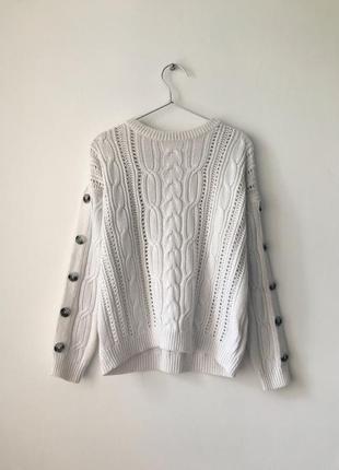 Замечательный состав ❤️ джемпер с косами marks&spencer белый свитер косичка білий светр з косами