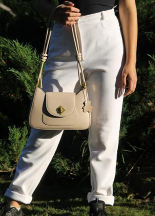 Сумка багет жіноча женская сумка бежевая