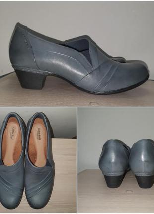 Туфли 42-43 р кожа цвет джинсовый винтаж