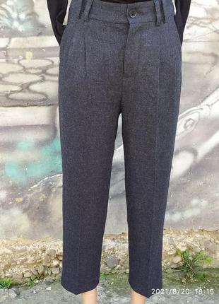 Осенние штаны высокая посадка с защипами