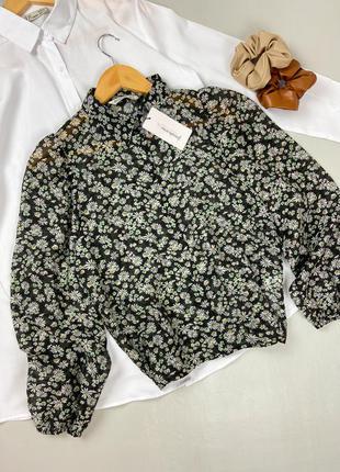 Шифоновая блуза в принт ромашки stradivarius