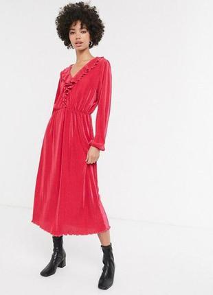 Яркое малиновое платье monki