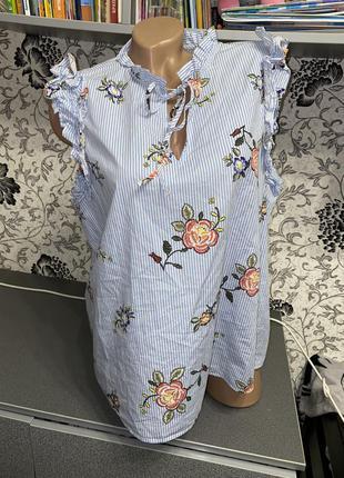Хлопковая блуза вышиванка l-xl