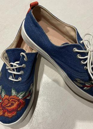Джинсовые мокасины, кроссовки на платформе topshop