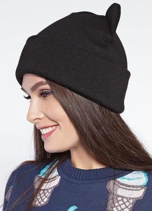Теплая серая двойная шапка с ушками