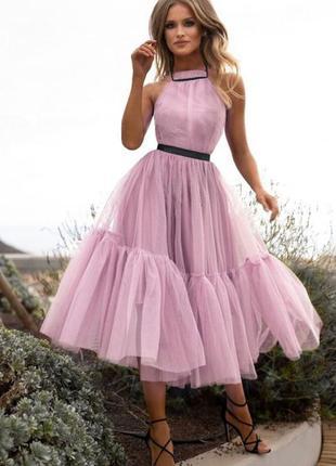 Фатиновое платье , вечернее платье с голой спиной , розовое платье 44 размера