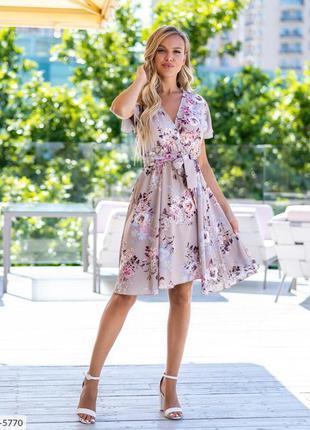 Платье в цветочек , платье с пышной юбкой , платье 44 размера