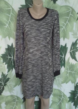 Zara morocco платье туника миди вязоное теплое хлопковое с длинным рукавом осенние теплое