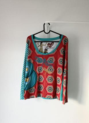 Трикотажна блуза з довгим рукавом і вишивкою