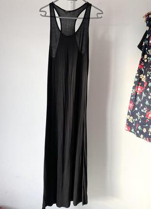 Чорна трикотажна довга сукня-майка