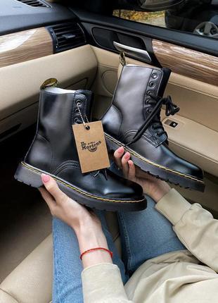 Dr. martens classic black женские ботинки мартинс демисезонные